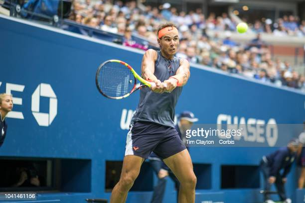 Open Tennis Tournament Day Twelve Rafael Nadal of Spain in action against Juan Martin Del Potro of Argentina in the Men's Singles Semi Final match on...