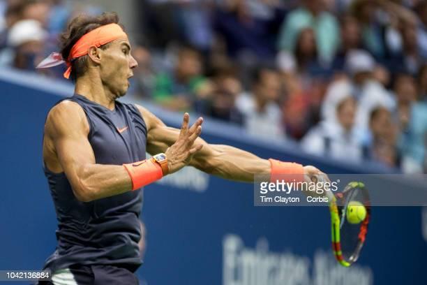 Open Tennis Tournament Day Twelve Rafael Nadal of Spain in action against Juan Martin Del Potro of Argentina in the Men's Singles Semi Final match on...