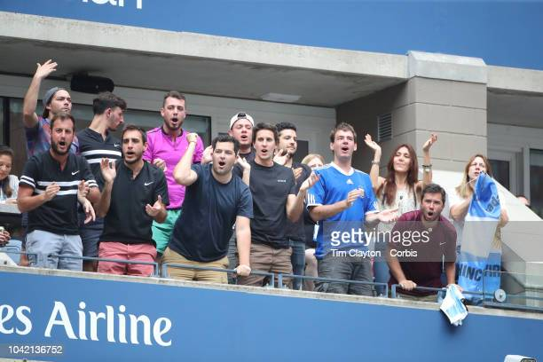 Open Tennis Tournament Day Twelve Supporters of Juan Martin Del Potro of Argentina cheer him on during his match against Rafael Nadal of Spain in the...