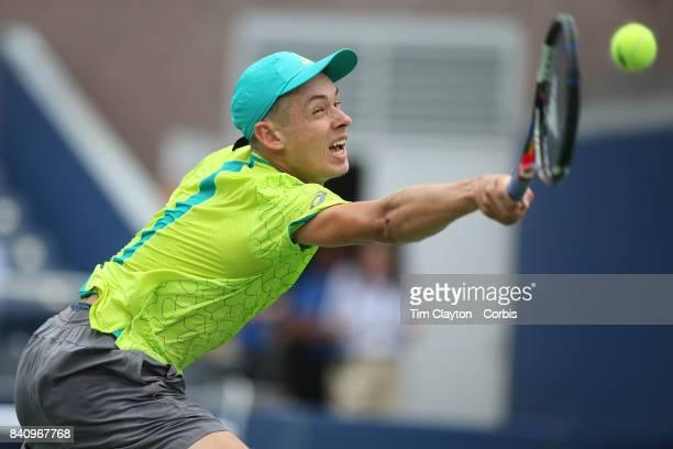 S Open Tennis Tournament DAY TWO Alex de Minaur of Australia in action against Dominic Thiemof Austria during the Men'u2019s Singles round one at...