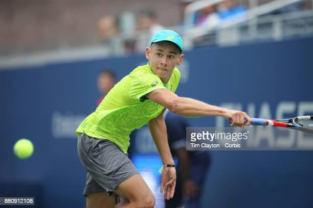 S Open Tennis Tournament DAY TWO Alex de Minaurof Australia in action against Dominic Thiem of Austria during the Men's Singles round one match at...