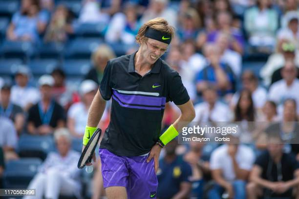 Open Tennis Tournament Day Two Andrey Rublev of Russia feels pain in his side during his victory against Stefanos Tsitsipas of Greece in the Men's...