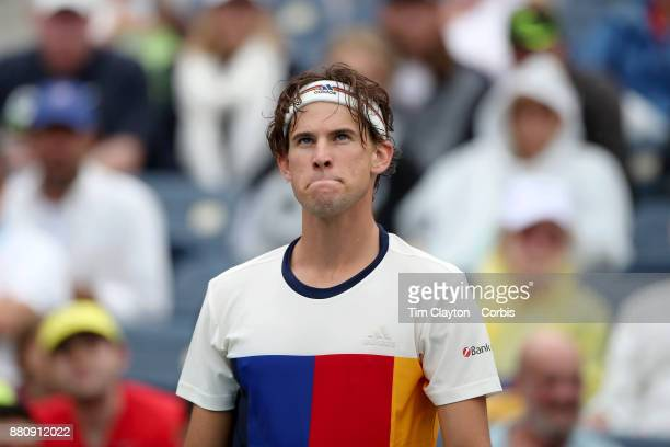 S Open Tennis Tournament DAY TWO Dominic Thiemof Austria in action against Alex de Minaur of Australia during the Men's Singles round one at the US...