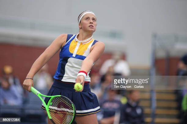 S Open Tennis Tournament DAY TWO JelenaOstapenko of Latvia in action against Lara Arruabarrena of Spain during the Women's Singles round one at the...