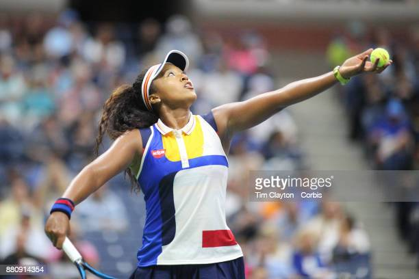 S Open Tennis Tournament DAY TWO Naomi Osaka of Japan in action against Angelique Kerber of German during the Women's Singles round one at the US...