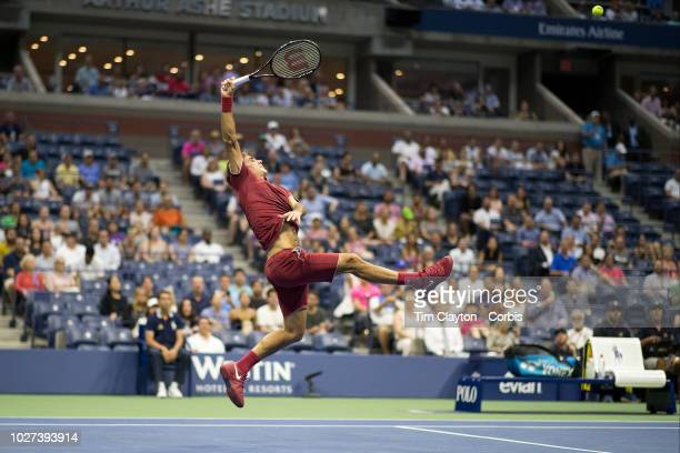 Open Tennis Tournament Day Two Roger Federer of Switzerland in action against Yoshihito Nishioka of Japan in the Men's Singles round one match on...