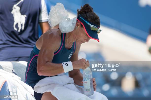 Open Tennis Tournament Day Two Sam Stosur of Australia keeps cool with an ice pack between games against Caroline Wozniacki of Denmark on Arthur Ashe...