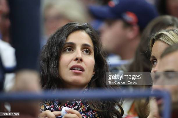 S Open Tennis Tournament DAY TWO Xisca Perello partner of Rafael Nadalof Spain watches his match against DusanLajovic of Serbia during the Men's...