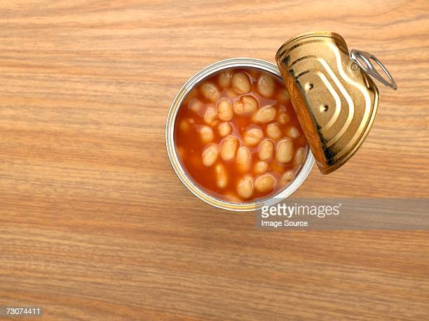 open tin of baked beans - bean stock pictures, royalty-free photos & images