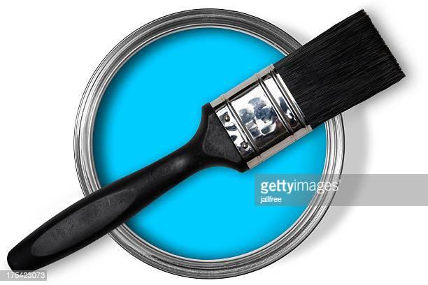 Open tin of blue paint, brush on top on white