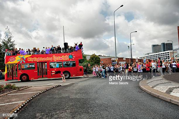 Open Top Bus parade followed by dance lovers in Ipswich on October 10 2009 in Ipswich England A mass dance celebrates the opening of The Jerwood...