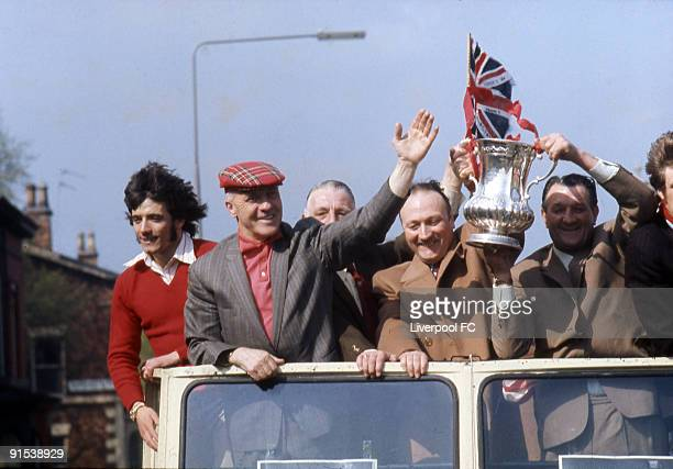Open top bus parade with the 1974 FA Cup moving down Everton Valley onto Scotland Road with on the bus Liverpool striker Kevin Keegan manager Bill...