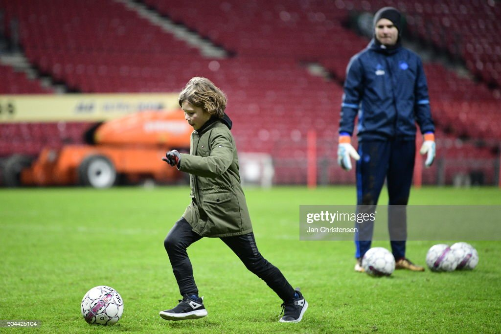 open traing session at Telia Parken Stadium on January 13, 2018 in Copenhagen, Denmark.