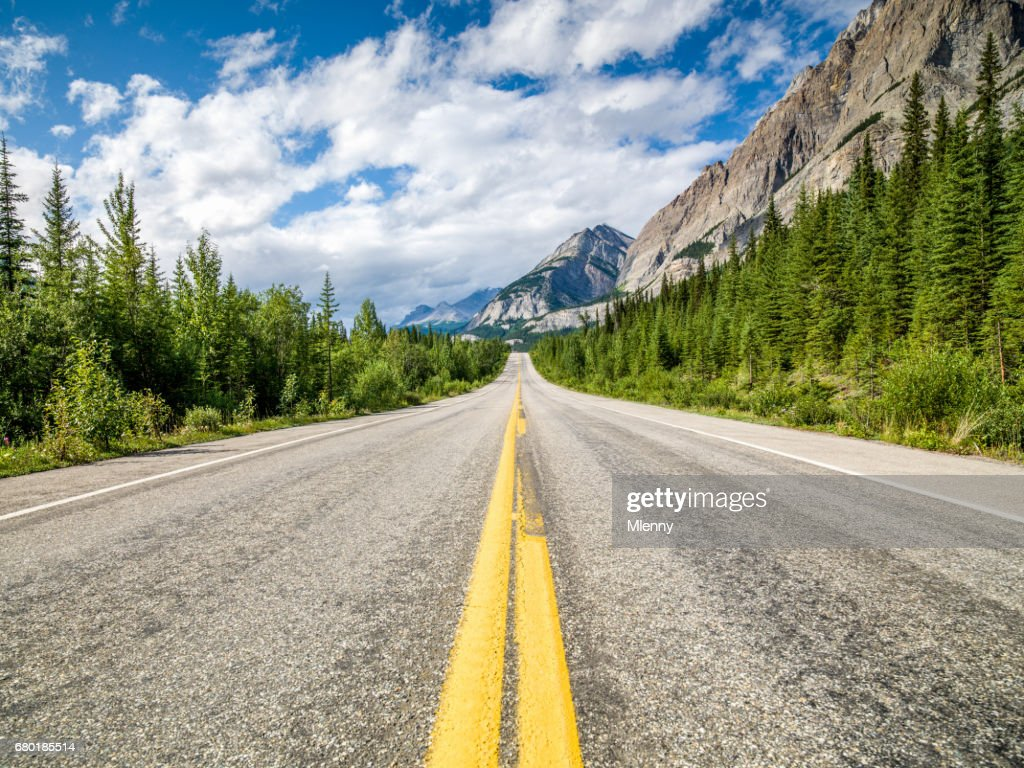 Open Trans-Canada Highway Canadian Rocky Mountains : Stock Photo