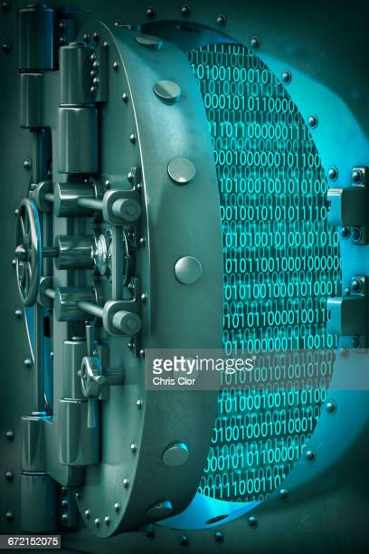 Open vault door revealing binary code