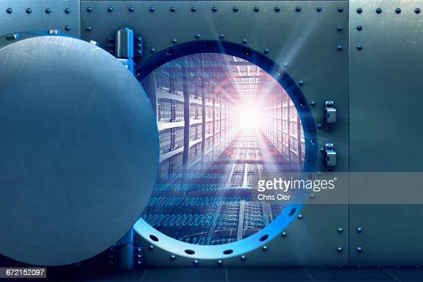 Open vault door revealing computer servers and binary code