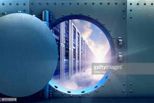 Open vault door revealing computer servers