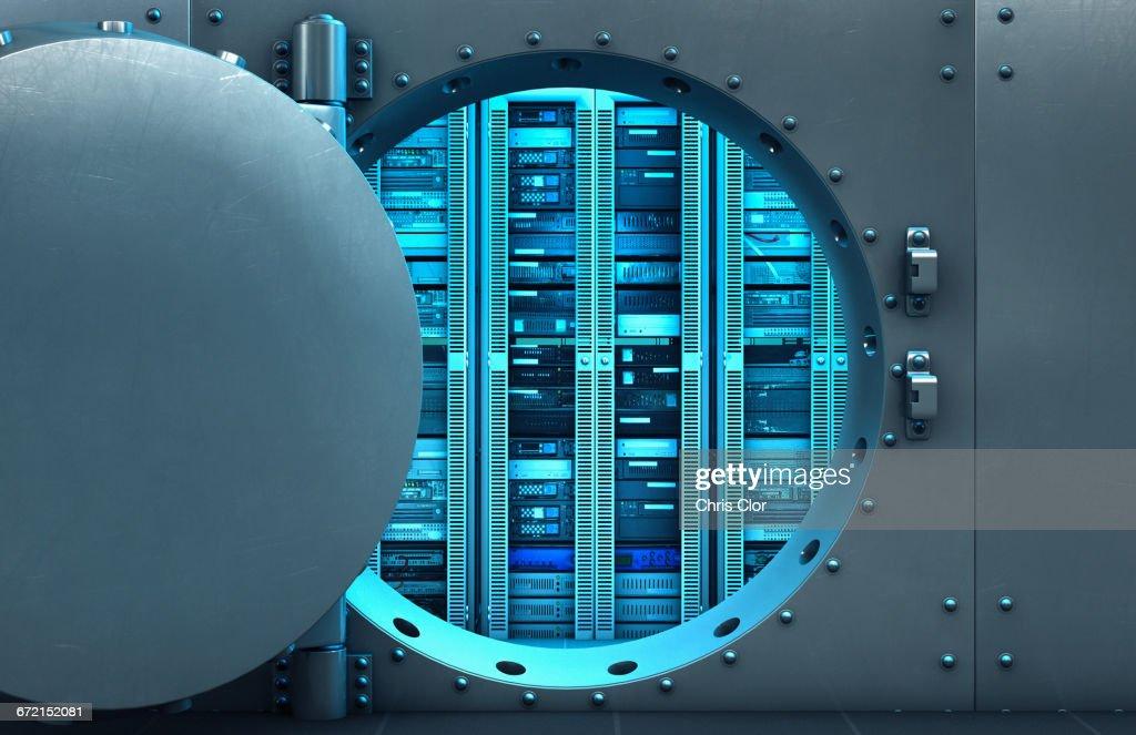 Open vault door revealing computer servers : Stock Photo