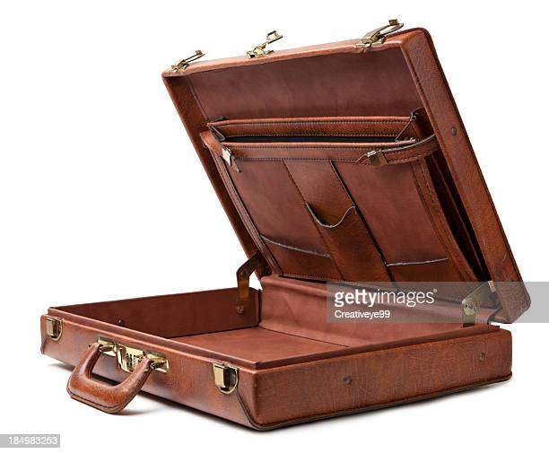 open vintage briefcase - briefcase stock pictures, royalty-free photos & images