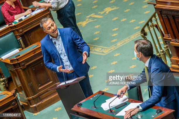 Open Vld's Egbert Lachaert pictured during a plenary session of the chamber at the federal parliament in Brussels, Thursday 17 June 2021. BELGA PHOTO...