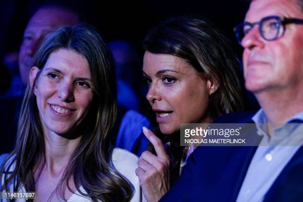 Open Vld's Els Ampe Goedele Liekens and Oostende mayor Bart Tommelein pictured during the last campaign congress of Flemish liberals Open Vld Tuesday...
