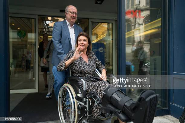 Open Vld's Goedele Liekens in a wheelchair following surgery after a fall pictured after the party bureau of Flemish party Open Vld at the party's...