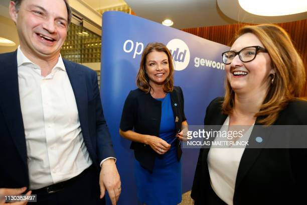 Open Vld's Herman De Croo, Goedele Liekens, Open Vld chairwoman Gwendolyn Rutten and pictured during a press conference to present the Open Vld list...
