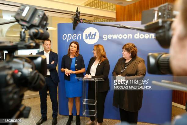 Open Vld's Herman De Croo Goedele Liekens Open Vld chairwoman Gwendolyn Rutten and Maggie De Block pictured during a press conference to present the...