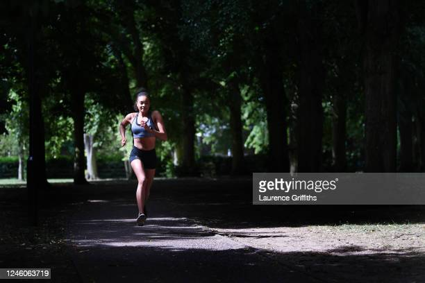 Open Water Swimmer Alice Dearing runs in the park for a training session on June 05 2020 in Loughborough England