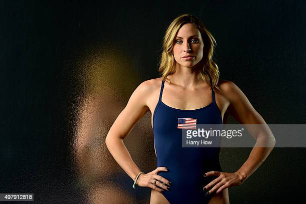 Open water swimmer Haley Anderson poses for a portrait at the USOC Rio Olympics Shoot at Quixote Studios on November 19 2015 in Los Angeles California