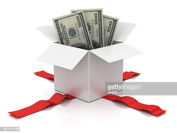 Caja en blanco abierta y billete de cien dólares.