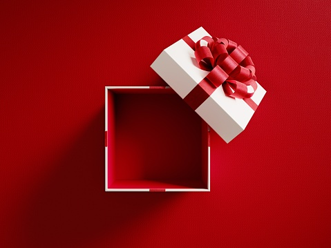 Open White Gift Box Tied With Red Ribbon 1043663434