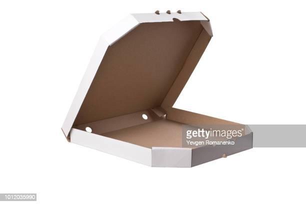 Open white pizza box template on white background