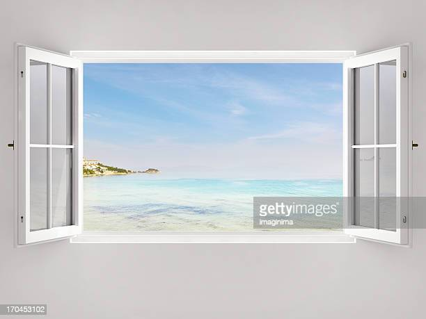 open window with ocean view - window stock pictures, royalty-free photos & images