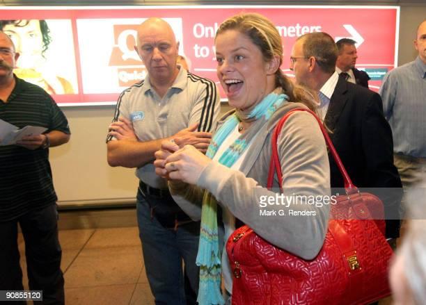 S Open winner Kim Clijsters arrives at Zaventem Airport on September 16 2009 in Brussels Belgium