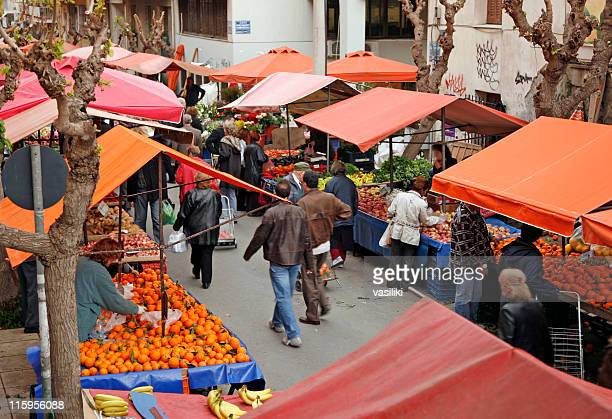 open-air market scene - farmers market stock pictures, royalty-free photos & images