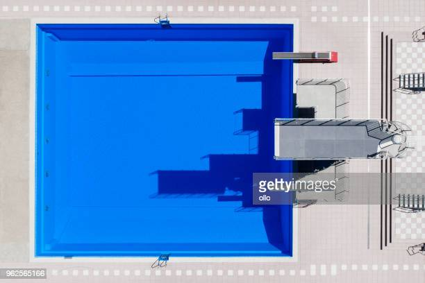 open-air swimming pool, aerial view - diving platform stock pictures, royalty-free photos & images