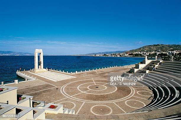 Openair theatre of the Straits and Marble memorial monument to Vittorio Emanuele III Strait of Messina waterfront Reggio Calabria Calabria Italy