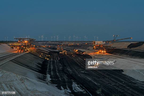 Opencast mining at dusk