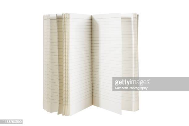 opened blank magazine book for white background - blank magazine ad stock pictures, royalty-free photos & images