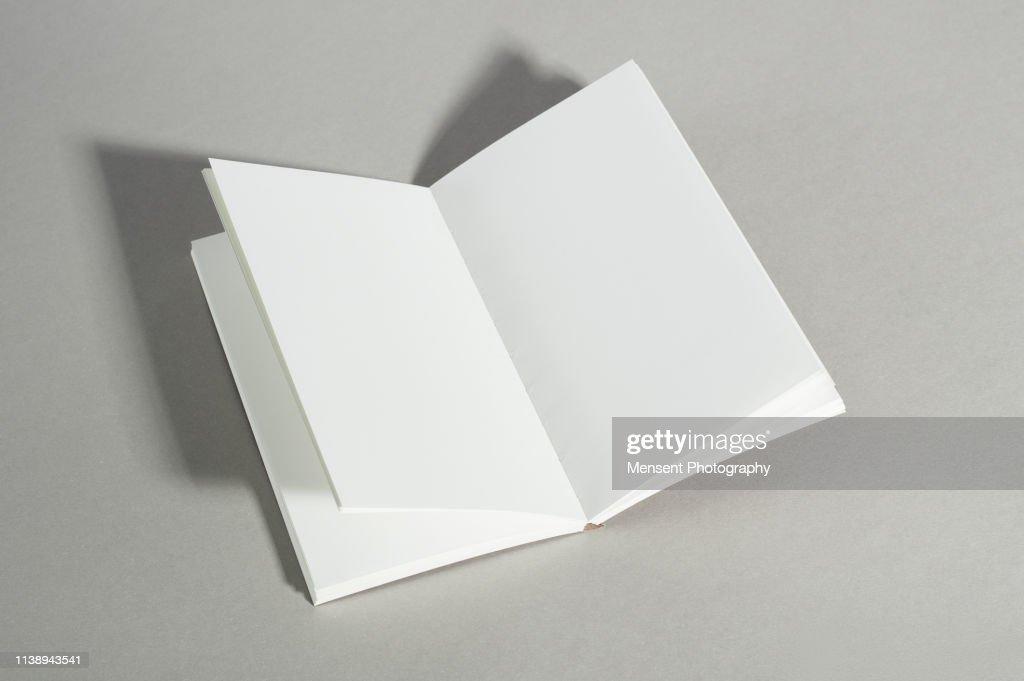Opened blank magazine book on gray background : Stock Photo