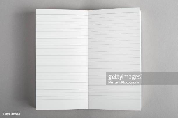 opened blank magazine book on gray background - blank magazine ad stock pictures, royalty-free photos & images