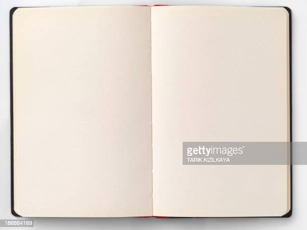 Opened book with blank pages