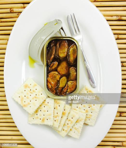 opened can of smoked oysters on a platter with saltine crackers and a fish fork - smoked food stock photos and pictures