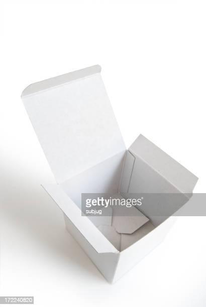 Opened empty white cardboard box