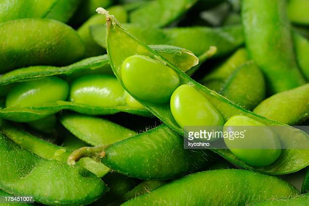 Opened fresh boiled green soybeans