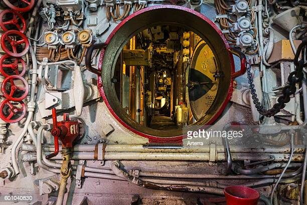 Opened hatch in Russian dieselelectric submarine B143 / U480 Foxtrot type 641 at the Seafront Maritime Theme Park in Zeebrugge Belgium
