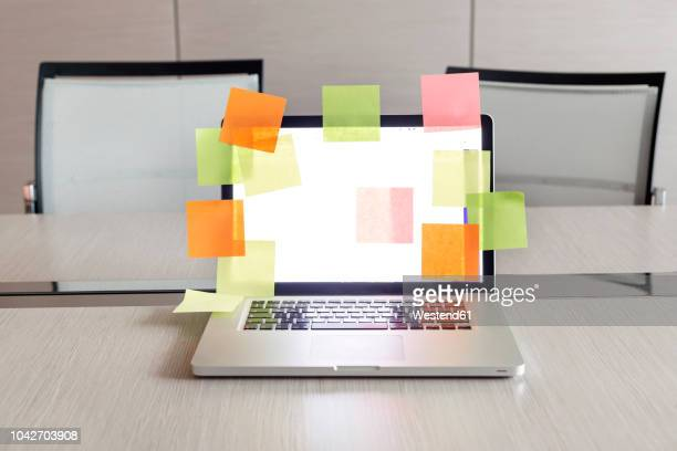 opened laptop with plenty of coloured adhesive labels on conference table - geographical locations stock pictures, royalty-free photos & images