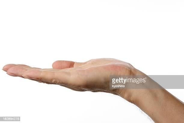 Aislado fotografía de gestos de la mano abierta contra fondo blanco