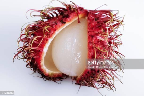 Opened Rambutan fruit (Nephelium lappaceum)